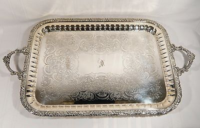 "LARGE Silver Plate Serving Tray 27 1/2"" x 16 1/2""  Monogram "" D "" Cavendish"