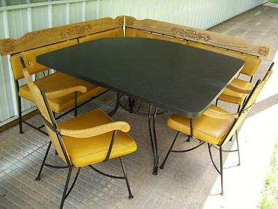 Vtg MID CENTURY OUTDOOR PATIO FURNITURE SOLID OAK & STEEL BOOTH TABLE CHAIRS SET