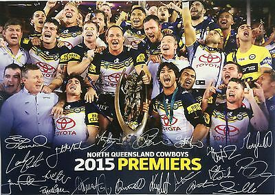 2015 North Qld Cowboys Nrl Premiers Poster With Lithographic Signatures
