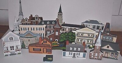 Vintage Wooden Christmas Village Town Lot of (20) ~ Shelia's & others