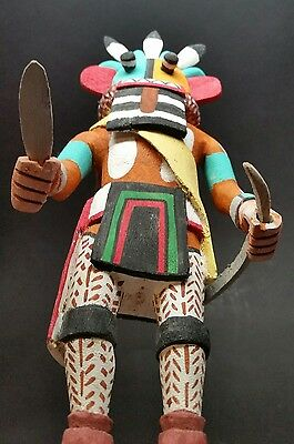 VINTAGE AUTHENTIC HOPI Kachina Doll POHAHA 4-HORNED Signed Elmer Adams 9-1/4""