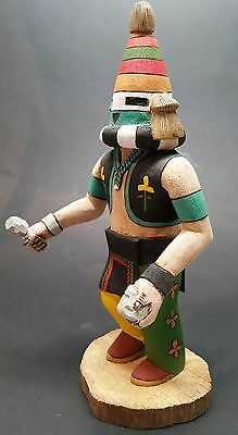 "VINTAGE Rare Authentic Hopi Kachina Doll ""MUD THROWER"" Signed D. Adams 10-1/4"""