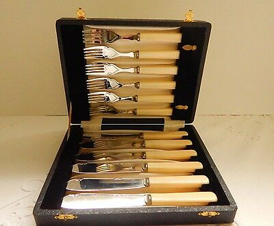 Antique Fitted Boxed Set Of Faux Bone Handled Fish Forks & Knives, Etched Detail