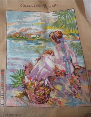 Vintage Completed Tapestry Girl Sitting By Lake Suit Cushion Craft Upcycle