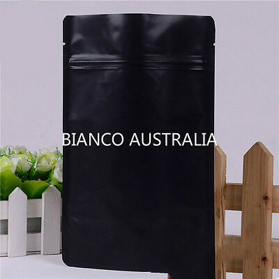 100X 250G(750Ml) Plastic Stand Up Pouch Bag, Matte Black, With Zip Lock