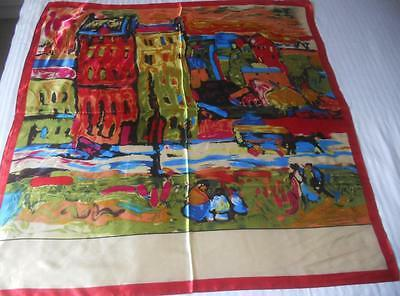 Vintage Silky Satin Scarf Square Print Of Abstract South American Village Scene