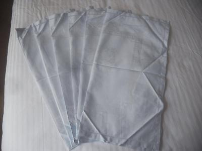 Unused Vintage Set 6 Very Pale Blue Cotton Rayon Damask Napkins Floral Design
