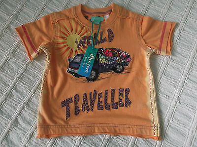 UNISEX New with Tag Monsoon 'World Traveller' Cotton Tee Top  Up to 12-18 months