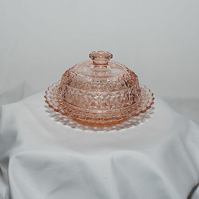 """Antique Glass - Holiday Pink Butter Dish ( 6"""" ) - No Chips"""
