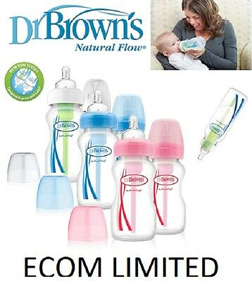 Dr Brown's Options Bottle Baby Feeding Wide Neck Anti-Colic Pink / Blue / Clear