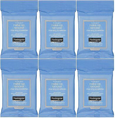 6 x Neutrogena Make-up Remover Cleansing Towelettes Wipes. 6x7=42 wipes. BARGAIN