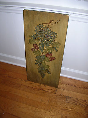 """Vntg. Board Hand Painted Grapes Wood Board  12 x 26 1/2""""  1968"""
