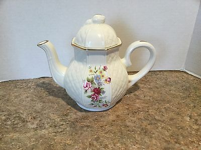 Arthur Wood & Son floral teapot w/gold colored piping. Staffordshire. #5976