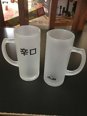 ASAHI Frosted Beer Glasses 2 x Tankards Ultra rare collectibles