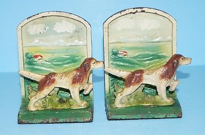 ANTIQUE SETTER HUNTING DOG CAST IRON BOOKENDS BOTTLE OPENERS CIRCA 1940's