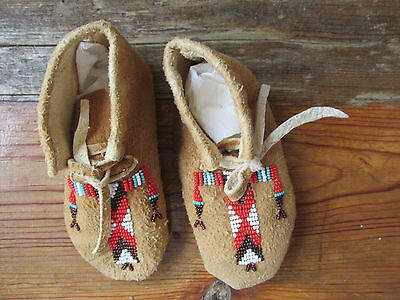 Native American  leather moccasins. Authentic. Hand made.