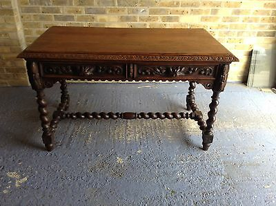 Antique Victorian Country Oak Carved Desk/table.Carved On All Sides.Del Possible