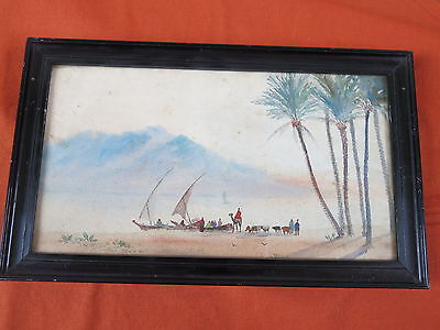 Orient Nil Sonnenuntergang  Antik - Oriental Nile  Sunset  Watercolour : Antique