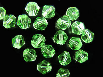 Bulk 50pcs Lt Green Crystal Glass Faceted Bicone Beads Spacer Craft Finding 6mm