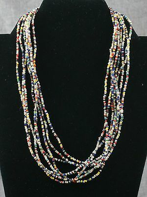 "INDIAN TRADE BEAD NECKLACE - Multi Color 2mm - 162"" Long"