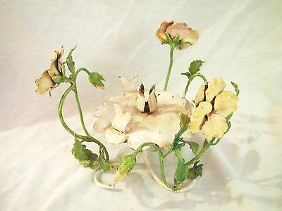 Vintage Metal Italian Tole Painted Candle Centerpiece - Green & Yellow Pansies
