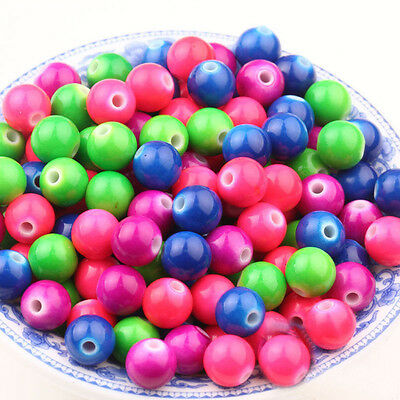 Wholesale 50Pcs Mixed Acrylic Round Loose Spacer Beads Jewelry Findings 6MM