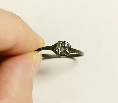 Rare Ancient Greek/roman Bronze Seal Finger Ring With Stylized God Nike