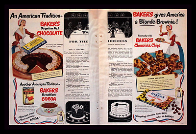 1951 Bakers Chocolate Ad - Double Page - Cocoa - Vintage Advertising Page 50s