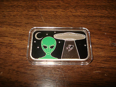 Alien Encounter Of A Physical Abduction Happening Rare .999 1 oz Pure Silver.