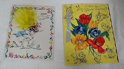 2 Vintage Colorful Eatster Cards Bunny w Real Feather Tulips Bows & More Dw2