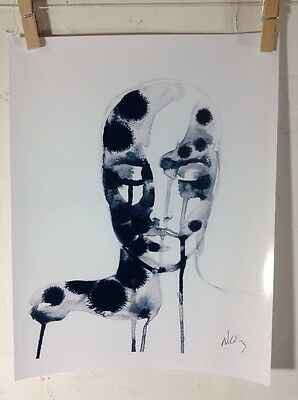 Print Of Original Ink Watercolor Painting Women Face Black White Art Abstract