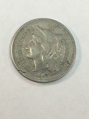 1865 U.S. 3 Cent Nickel Coin - Nice Coin