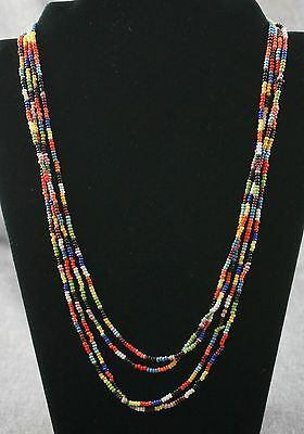 "INDIAN TRADE BEAD NECKLACE - Multi Color 2mm - 85"" Long"