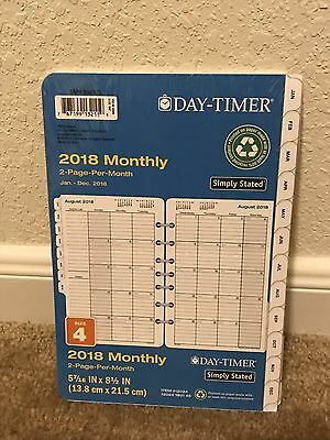 Day-Timer Planner Refill 2018 Size 4 Jan Dec Monthly Traditional White Simply