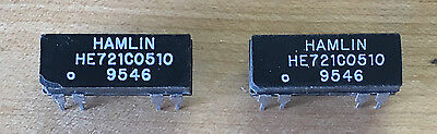 Pair of Hamlin HE721C0510 250mA 5V SPDT Reed Relays, New/NOS