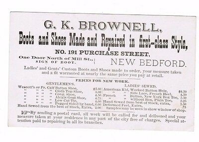 Brownell Business Card Shoes Boots New Bedford  Massachusetts  3 By 5