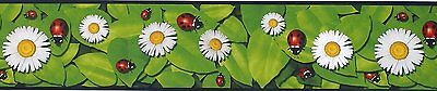 """Lady Bug Wall Paper Border Daisies Pre-Pasted, Washable 6"""" X 12' (144"""") Rolls"""