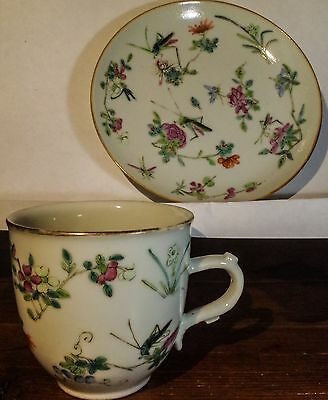 Fine Antique Chinese Porcelain ~ Famille Verte Grasshopper Tea Cup And Saucer ~