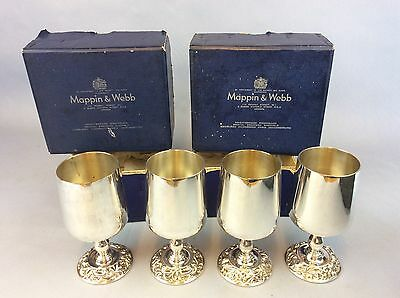 4 X Boxed Mappin & Webb Silver Plate On Copper Goblets