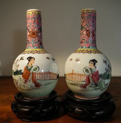 Qianlong Period Chinese Famille Rose Porcelain Mirror Vases Antique Calligraphy