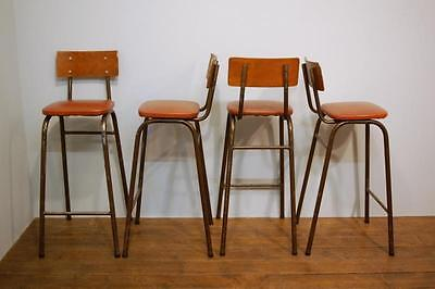 Set Of Four Vintage Tall Stacking Bar Stools / High Chairs 1960