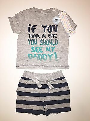 Bnwt F&f Baby Boys 2 Piece Outfit Set - Shorts & T-Shirt - 0-3 Months (Next Day)