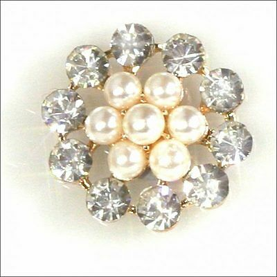 10 Rose Gold Round Pearl & Diamante Cluster Embellishment Ideal For  Invitations
