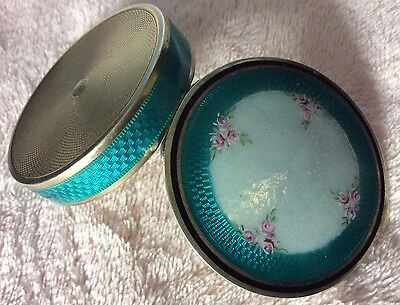 Antique Large Enameled Guilloche Sterling Silver Vtg Snuff Box Pillbox France