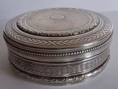 Antique Guilloche Sterling Silver Vtg Pillbox Circular Sweet Snuff Box France