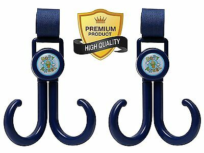 Stroller Hook Organizer - 2 Pack with 2 Double Multi Purpose Buggy Hooks Blue -