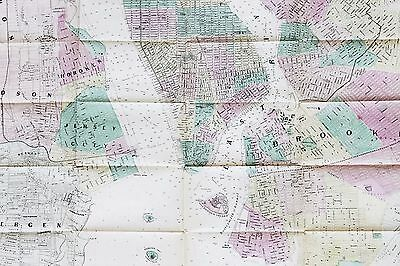 1860 New York City Brooklyn Map FIVE CITIES EXTREMELY RARE LARGE 2 PAGE