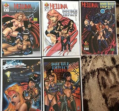 Hellina Double Impact Comic Book Lot Of 6 Set Nude Edition