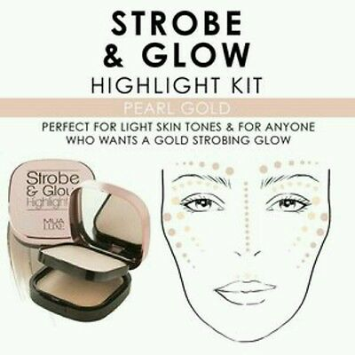 MUA Luxe Strobe Glow Cream Highlighter Kit Multi Formula Compact - Pearl Gold