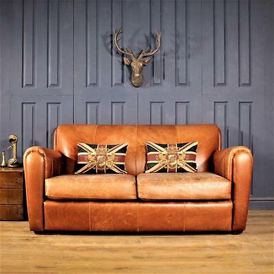 Leather 2 Seater Sofa Halo Cigar club Suite tan Chair Vintage Chesterfield deco